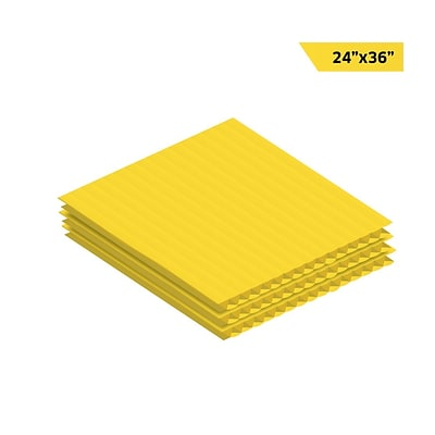 Adiroffice Yellow Corrugated Plastic Sheets 0.15 Thick - 24X36 48 Pack (CS2436-48-Y)