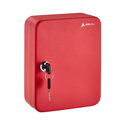 AdirOffice Red 48 Key Steel Security Sorage Holder Cabinet Valet Lock Box (681-48-RED)