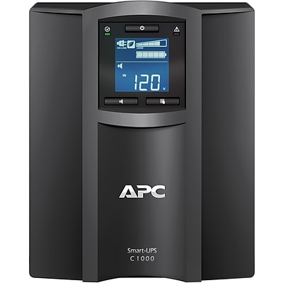APC Smart-UPS C 1000VA UPS, 8-Outlets, Black (SMC1000C)