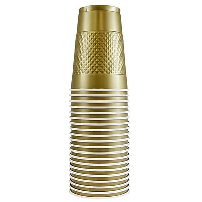JAM Paper® Plastic Party Cups, 16 oz, Gold, 20 Glasses/Pack (22555216go)