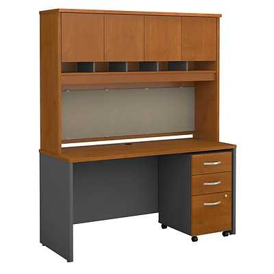 Bush Business Furniture Westfield 60W Office Desk W/ Hutch And Mobile File  Cabinet, Natural