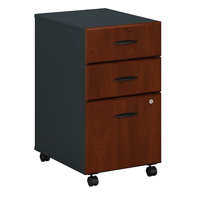 Bush Cubix™ Collection Vertical Mobile File Cabinet, Letter/Legal, 3-Drawer, Dark Cherry/Galaxy Finish, 20 3/8D, Dock Delivery
