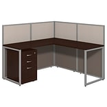 Bush Business Furniture Easy Office 60W L Shaped Desk Open Office with Mobile File Cabinet, Mocha Ch