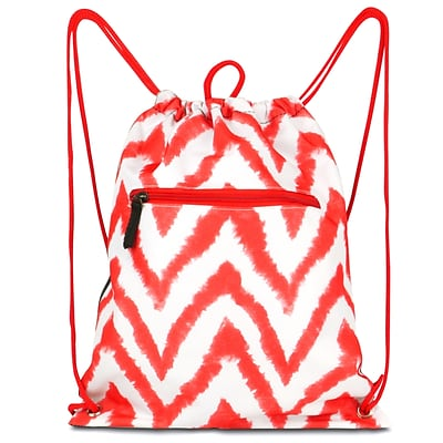 Zodaca Lightweight Sling Drawstring Bag Foldable Backpack Sports Gym Fitness - Chevron Tie Dye Red