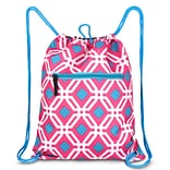 Zodaca Lightweight Sling Drawstring Bag Foldable Backpack Sports Gym Fitness - Pink Graphic