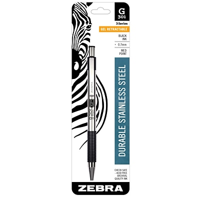 Zebra Pen G-301 Retractable Gel Pen, Medium Point (0.7mm), Black (ZEB 41311)