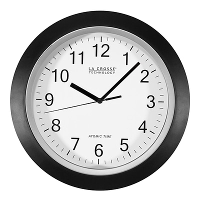 La Crosse Technology 10 Inch Atomic Analog Wall Clock, Black (WT-3102B)