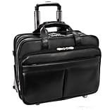 McKlein Roosevelt, Patented Detachable -Wheeled Laptop Briefcase, Top Grain Cowhide Leather, Black (
