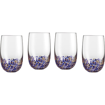 4-Piece Highball Glassware Set in Blue/Gold (CGS4HBBG)
