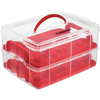 Stackable Cupcake Carrier (24 Cupcakes), Clear/Red (CTG00CCCR)