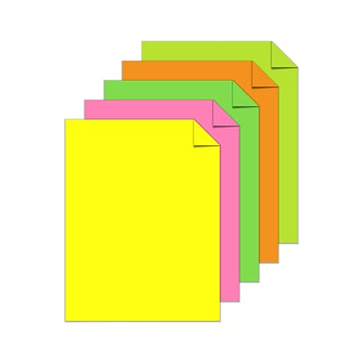 Astrobrights Color Paper, 8.5 x 11, 24 lb./89 gsm, Neon 5-Color Assortment, 500 Sheets/Pack (20270)
