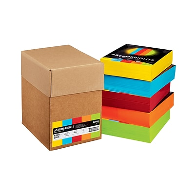 Wausau Paper Astrobrights Eco Brights Colored Paper, 24lb, 8-1/2 x 11, Assorted, 2500 Sheets