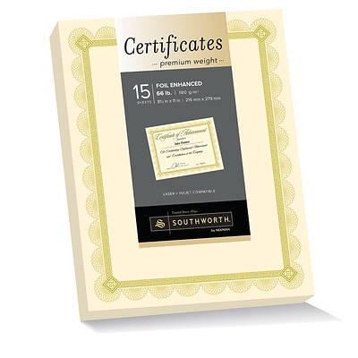 Southworth Premium Weight Certificates, Foil Enhanced Spiro Design, 8.5 x 11, 66 lb., Ivory/Gold, 15/Pack (CTP2V)