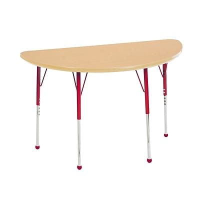ECR4Kids Thermo-Fused Adjustable Ball 48 x 24 Half-Round Laminate Activity Table Maple/Maple/Red (ELR-14225-MPMPRDTB)
