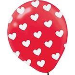 Amscan ValentineS Day Heart All-Over Printed Balloons, 12, Red, Latex, 30/Pack (110036)