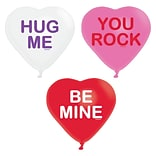 Amscan ValentineS Day Conversation Hearts Balloons, 12, Pink, Red and White, Latex, 30/Pack (11018