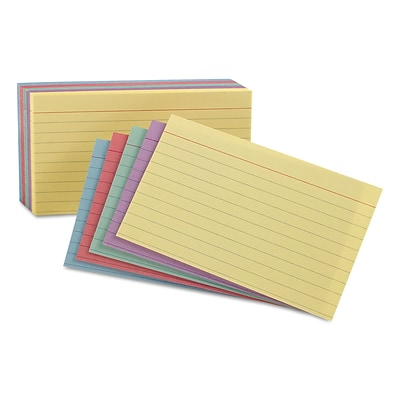 Oxford® Index Cards; 4 x 6, Ruled, Assorted Colors, 100/Pack