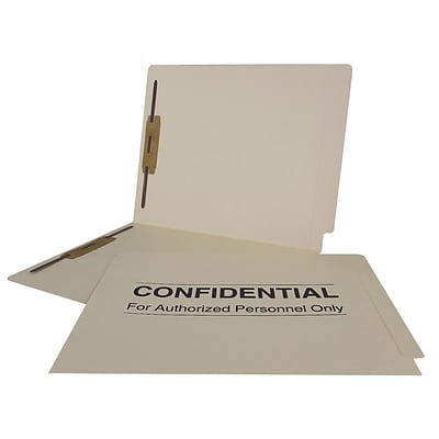 Medical Arts Press® Confidential End-Tab Folders, 14 Point, 2 Fasteners, 50/Box