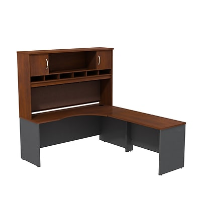 Bush Business Westfield 72W RH Corner L-Desk with 72W 2-Door Hutch, Hansen Cherry/Graphite Gray