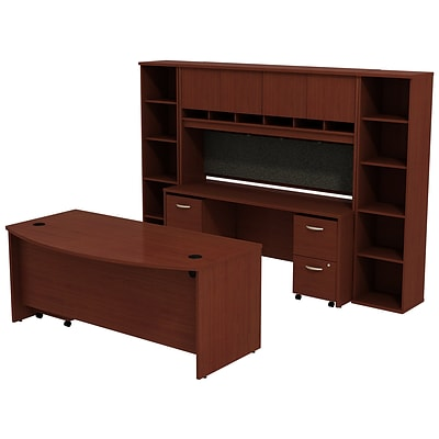 Bush Business Furniture Westfield Bow Front Desk with Credenza, Hutch and Bookcases, Mahogany (SRC0010MASU)