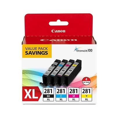 Canon CLI-281 XL Black, Cyan, Magenta & Yellow, 4 Ink Pack