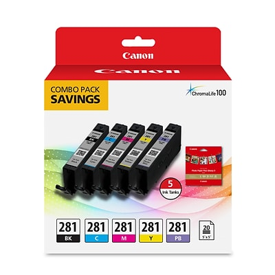 Canon CLI-281 Combo 5 Dye colored Ink pack and 20 Sheets, 5x5 with Glossy Photo Paper