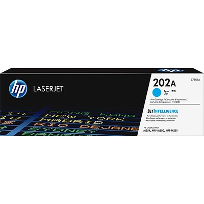 HP 202A Original Toner Cartridge, Cyan, Laser, Standard Yield, 1300 Pages, 1 Pack (CF501A)