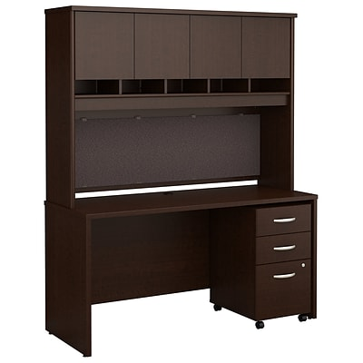 Bush Business Furniture Westfield 60W x 24D Office Desk with Hutch and Mobile File Cabinet, Mocha Cherry (SRC014MRSU)