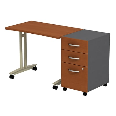 Bush Westfield Adj. Hgt Mobile Table w/3-Dwr Mobile Pedestal, Autumn Cherry/Graphite Gray, Installed