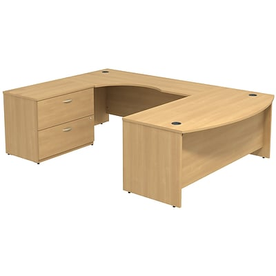 Bush Business Westfield 72W Bowfront LH U-Station with 2-Drawer Lateral File, Danish Oak, Installed