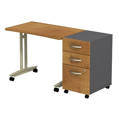 Bush Westfield Adj. Hgt Mobile Table w/ 3-Dwr Mobile Pedestal, Nat Cherry/Graphite Gray, Installed