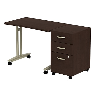Bush Business Westfield Adj. Height Mobile Table w/ 3-Drawer Mobile Pedestal, Mocha Cherry, Installed