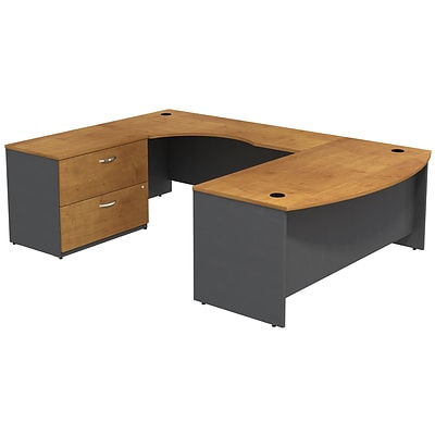 Bush Business Furniture Westfield Bow Front Left Handed U Shaped Desk with Lateral File Cabinet, Natural Cherry (SRC019NCLSU)