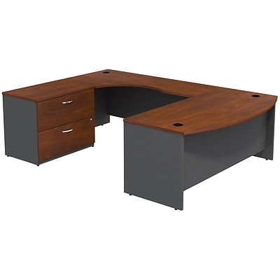 Bush Business Furniture Westfield Bow Front Left Handed U Shaped Desk with Lateral File Cabinet, Hansen Cherry (SRC019HCLSU)