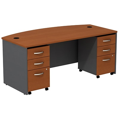 Bush Business Furniture Westfield Bow Front Desk with two 3 Drawer Mobile Pedestals, Auburn Maple (SRC013AUSU)