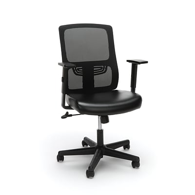 Essentials by OFM Ergonomic Mesh Chair with Leather Seat, Black (ESS-3048-BLK)