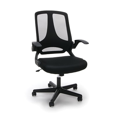 Essentials by OFM Mesh Upholstered Flip-Arm Task Chair, Black (ESS-3045)