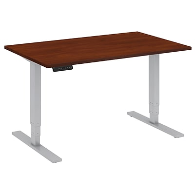 Bush Business 48W x 30D Height Adjustable Standing Desk, Hansen Cherry with Cool Grey Metallic Base