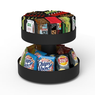 Mind Reader Supreme Lazy Susan 2-Tier Breakroom Snack Organizer; Black (SNACKCAR-BLK)