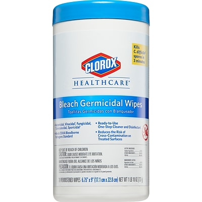 Clorox Healthcare® Bleach Germicidal Wipes, 70 Wipes/Canister, 6/Carton (35309CT)