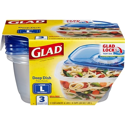 Glad® Food Storage Containers, Deep Dish, 64 Ounce, 3 Count