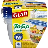 Glad® Food Storage Containers, To Go Lunch, 32 Ounce, 4 Count