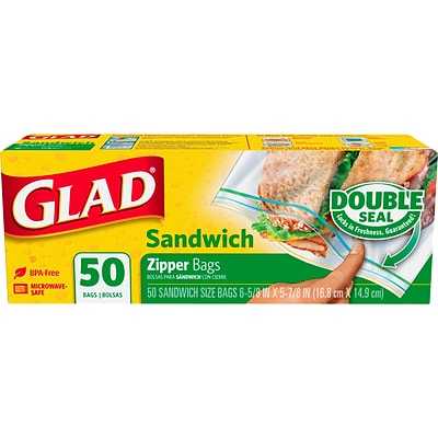 Glad® Food Storage Sandwich Zipper Bags, 50/CT