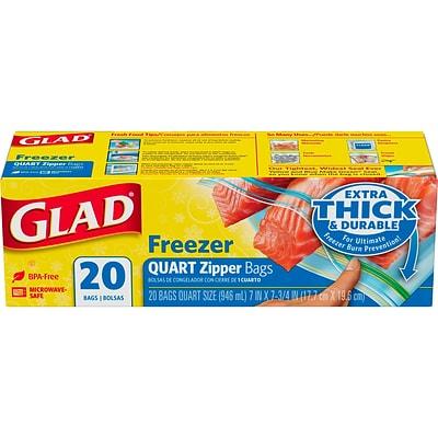 Glad Freezer Bags Zipper Quart 12 20ct