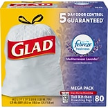 Glad  ForceFlexPlus Kitchen Drawstring Trash Bags, Mediterranean Lavender, 13 Gallon, 80 Count (7890