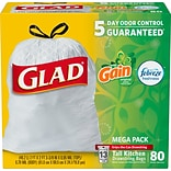 Glad® OdorShield® Tall Kitchen Drawstring Trash Bags, GAIN, 13 Gallon, 80/CT