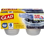 Glad® Food Storage Containers, Mini Round, 4 Ounce, 8 Count