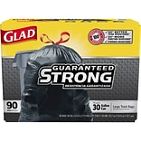 Glad Extra Strong 30Gal Trash Bags, 90/Box