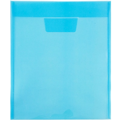 JAM Paper® Plastic Envelopes with Tuck Flap Closure, Letter Open End, 9 7/8 x 11 3/4, Blue Poly, 12/Pack (1541728)