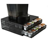 Mind Reader 72 Capacity Double K-Cup Storage Tray with Flower Pattern Metal Mesh, Black (DBMTRAY-BLK